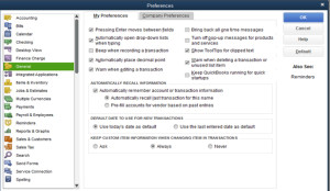 Controlling Preference in QuickBooks will save you time.